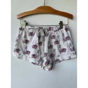 XS, MINKPINK, cream and purple llama print pajamas